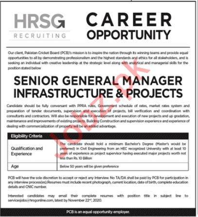 Senior General Manager Jobs in Pakistan Cricket Board PCB