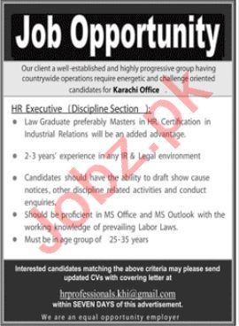 HR Executive & Legal Executive Jobs 2020 in Karachi
