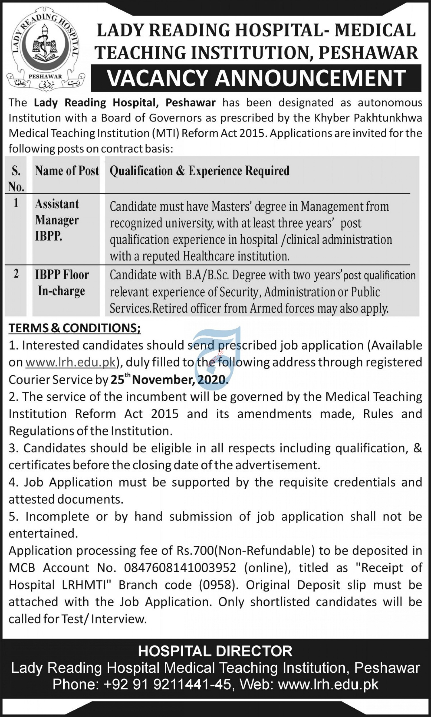 Assistant Manager Jobs 2020 in Lady Reading Hospital LRH