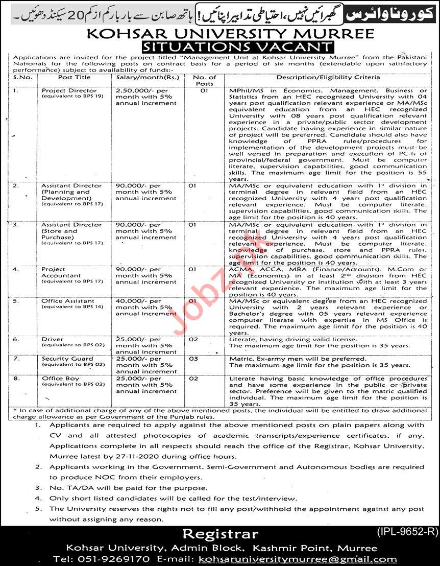 Accountant & Director Jobs 2020 in Kohsar University Murree