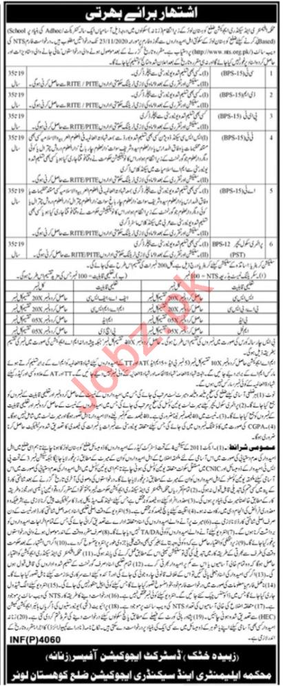 Education Department Female Kohistan Lower Jobs 2020