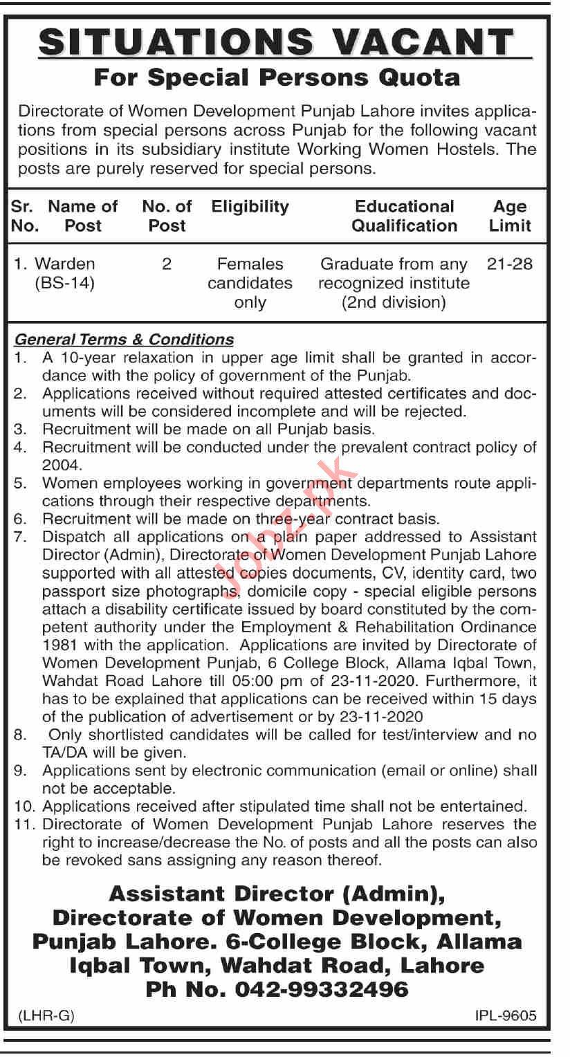 Women Development Department Punjab Jobs 2020 for Warden