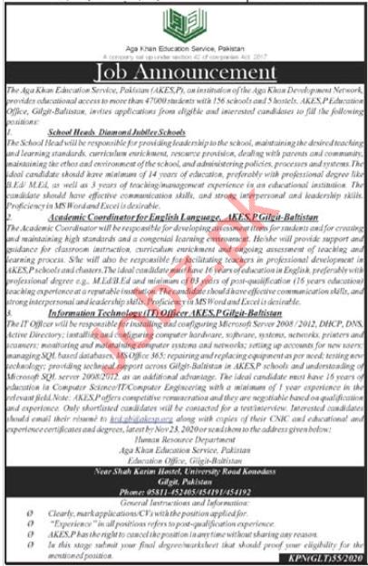 Aga Khan Education Service Pakistan AKES Jobs 2020