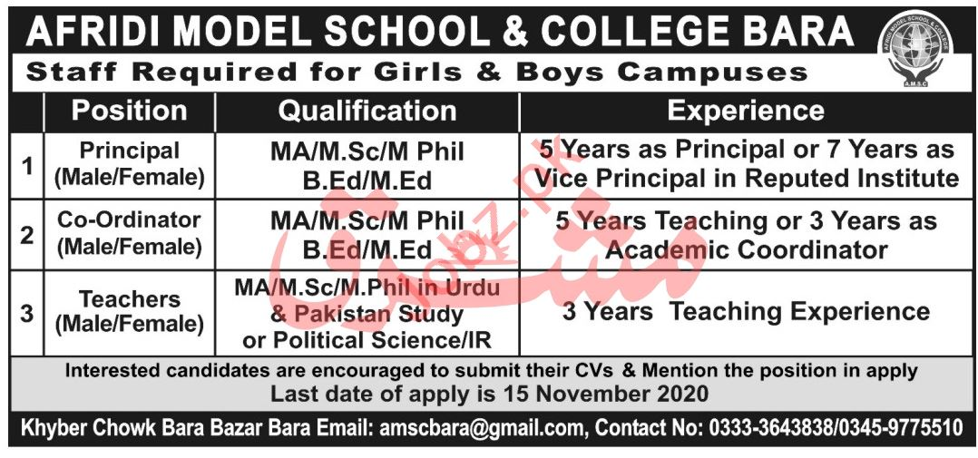 Afridi Model School & College Bara Jobs 2020 for Principal