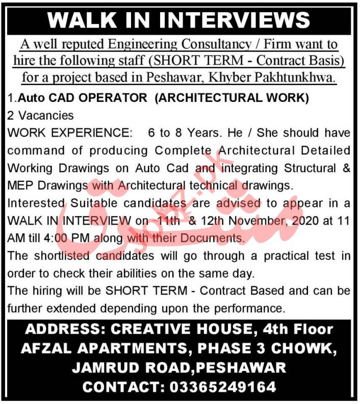 Auto CAD Operator & Draftsman Jobs 2020 in Peshawar
