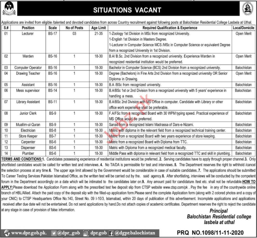 Balochistan Residential College Uthal Lasbela Jobs 2020