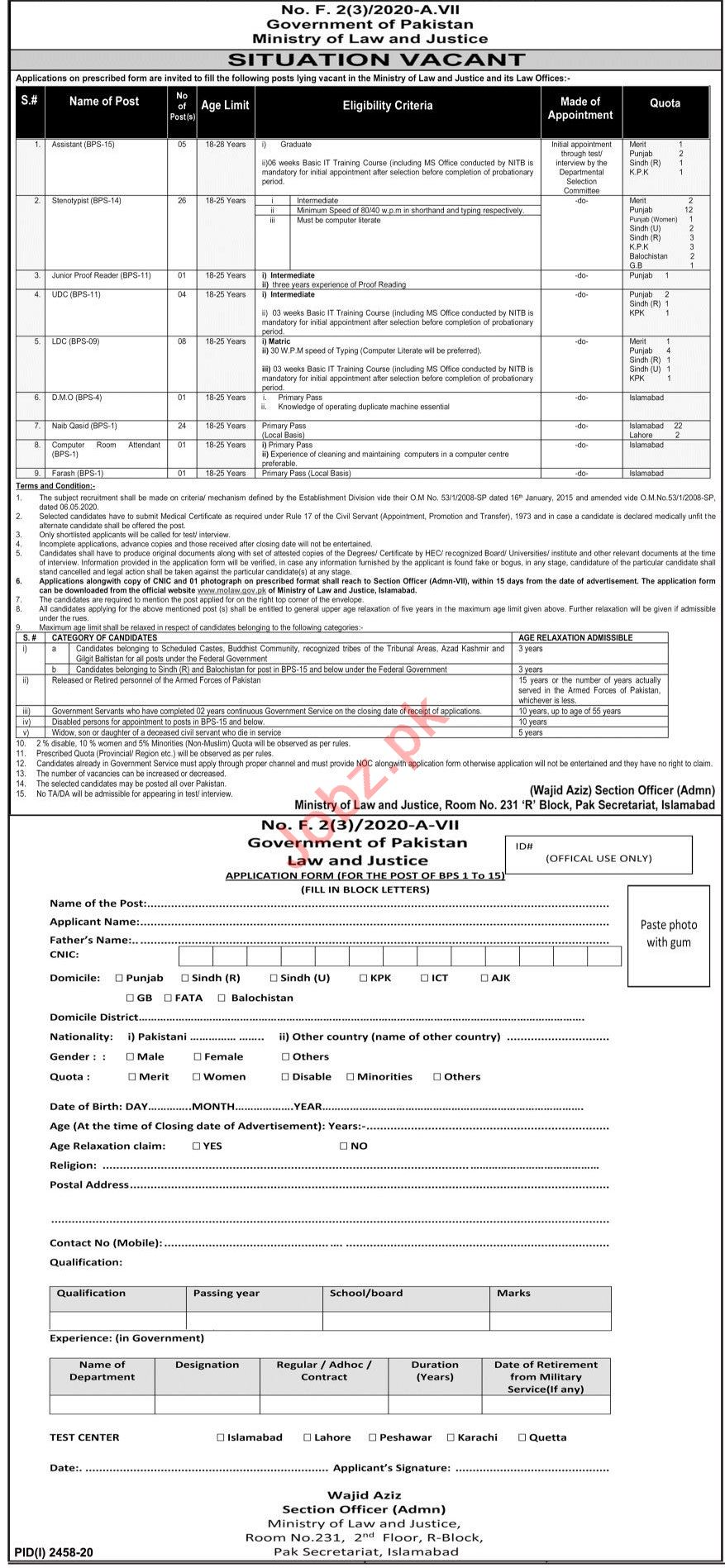 Clerks Jobs 2020 in Ministry of Law & Justice Islamabad