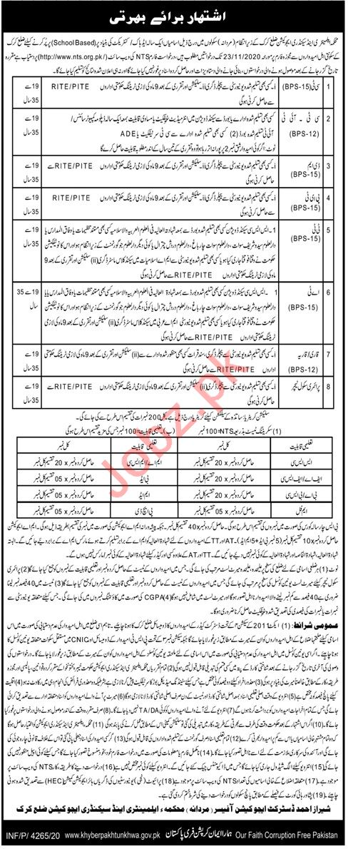 Elementary & Secondary Education Male Karak Jobs 2020