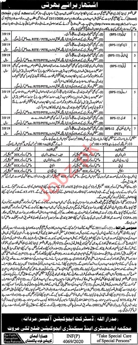 District Education Office Male DEO Lakki Marwat Jobs 2020