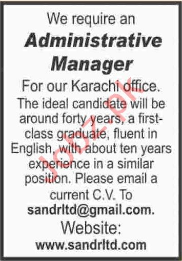 Administrative Manager & Manager Jobs 2020 in Karachi