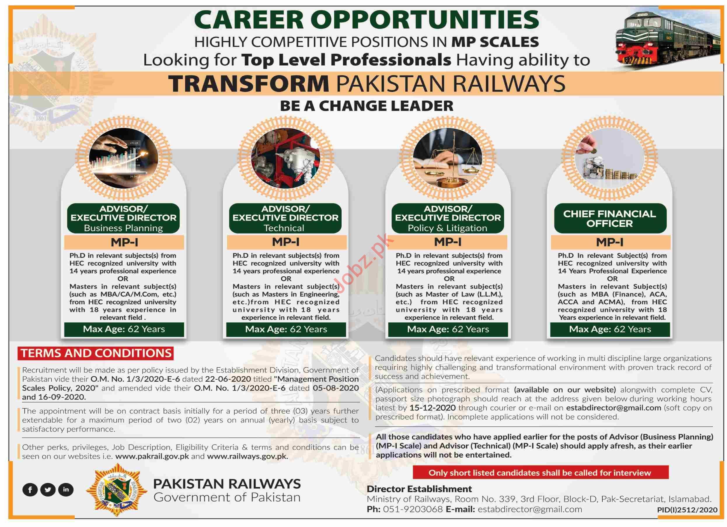 Pakistan Railways Islamabad Jobs 2020 for Executive Director