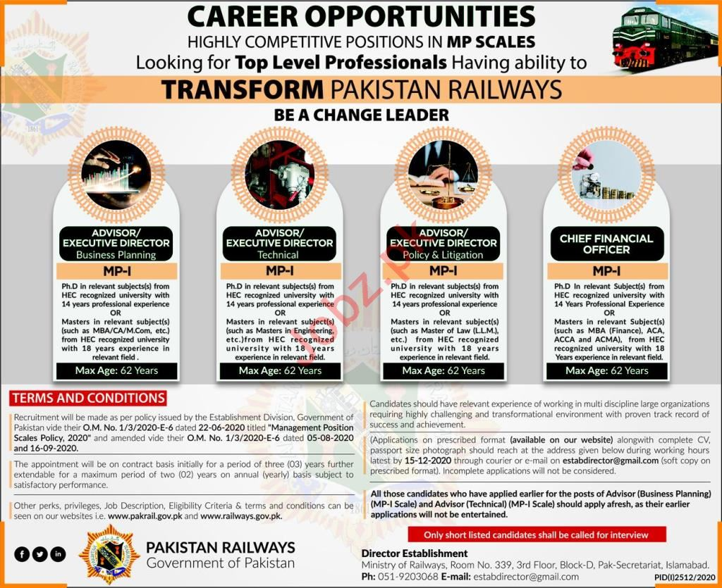 Executive Director Jobs 2020 in Ministry of Railways