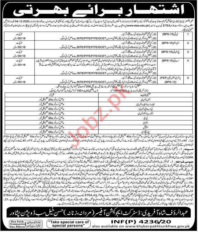 Elementary & Secondary Education Hassan Khel Peshawar Jobs