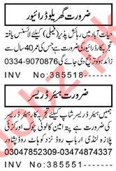 Hair Dresser & House Driver Jobs 2020 in Peshawar