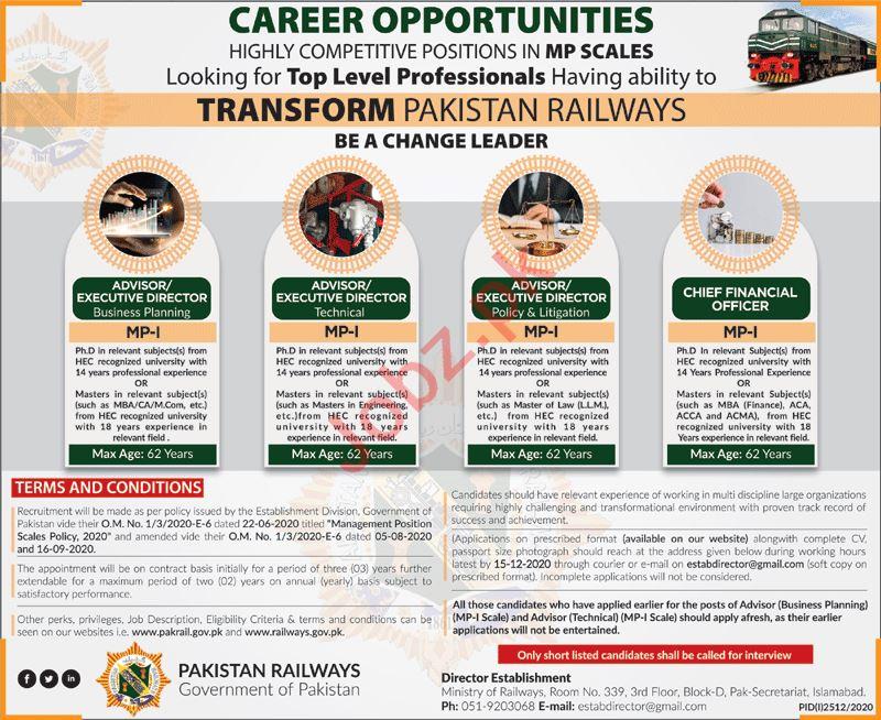 Pakistan Railways Jobs 2020 for Executive Director & Advisor