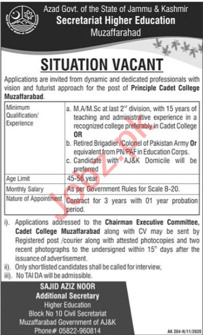 Cadet College Muzaffarabad Jobs 2020 for Principal