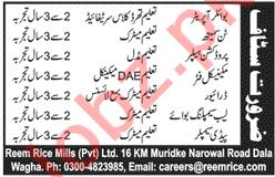 Boiler Operator & Tin Smith Jobs in Reem Rice Mills Lahore