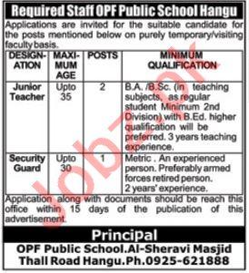 OPF Public School Hangu Jobs 2020 for Junior Teachers