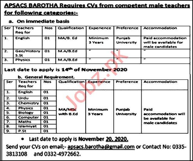 Army Public School & College APSACS Barotha Attock Jobs