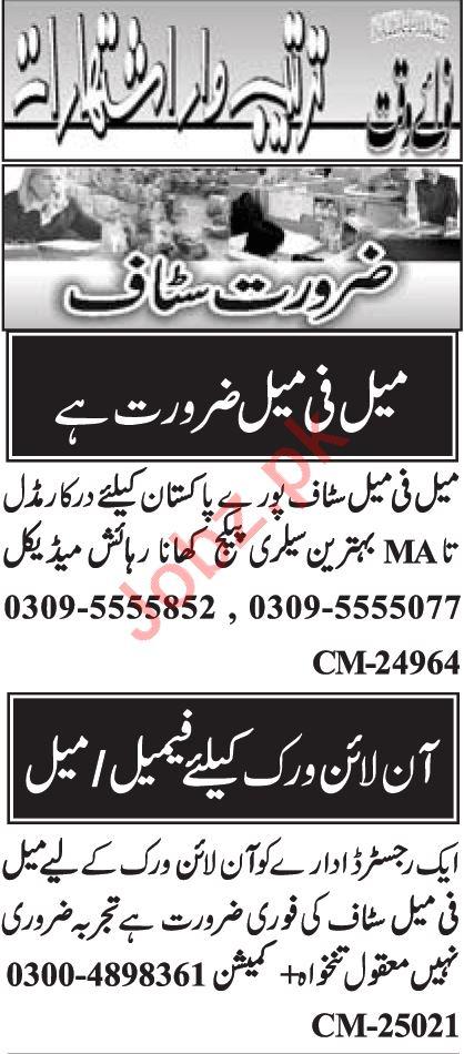 Call Operator & Data Entry Operator Jobs 2020 in Islamabad