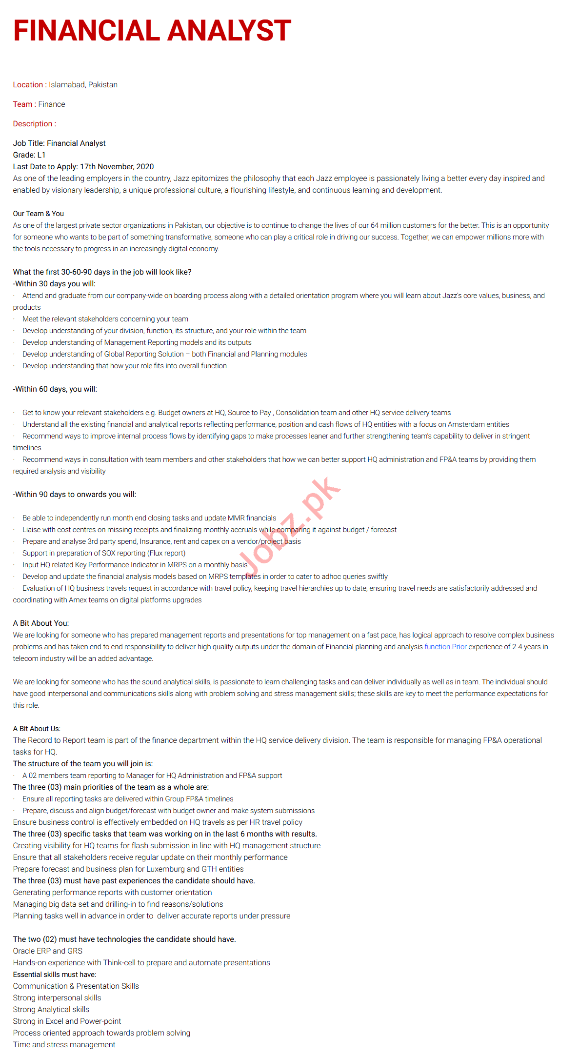 Financial Analyst Jobs 2020 in Islamabad