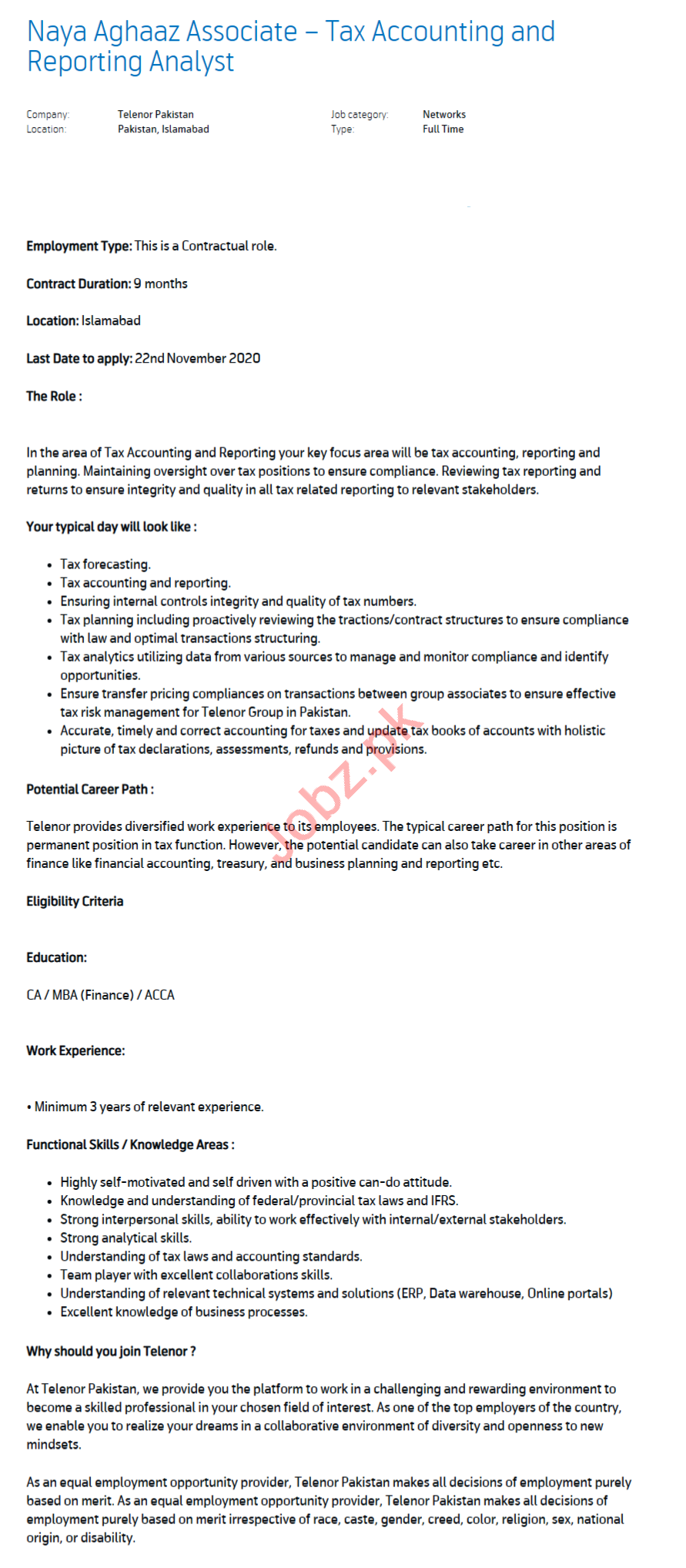Tax Accounting Analyst & Report Analyst Jobs 2020