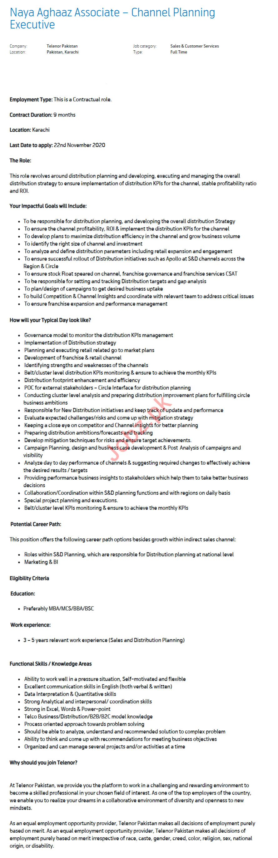 Channel Planning Executive Jobs 2020 in Karachi