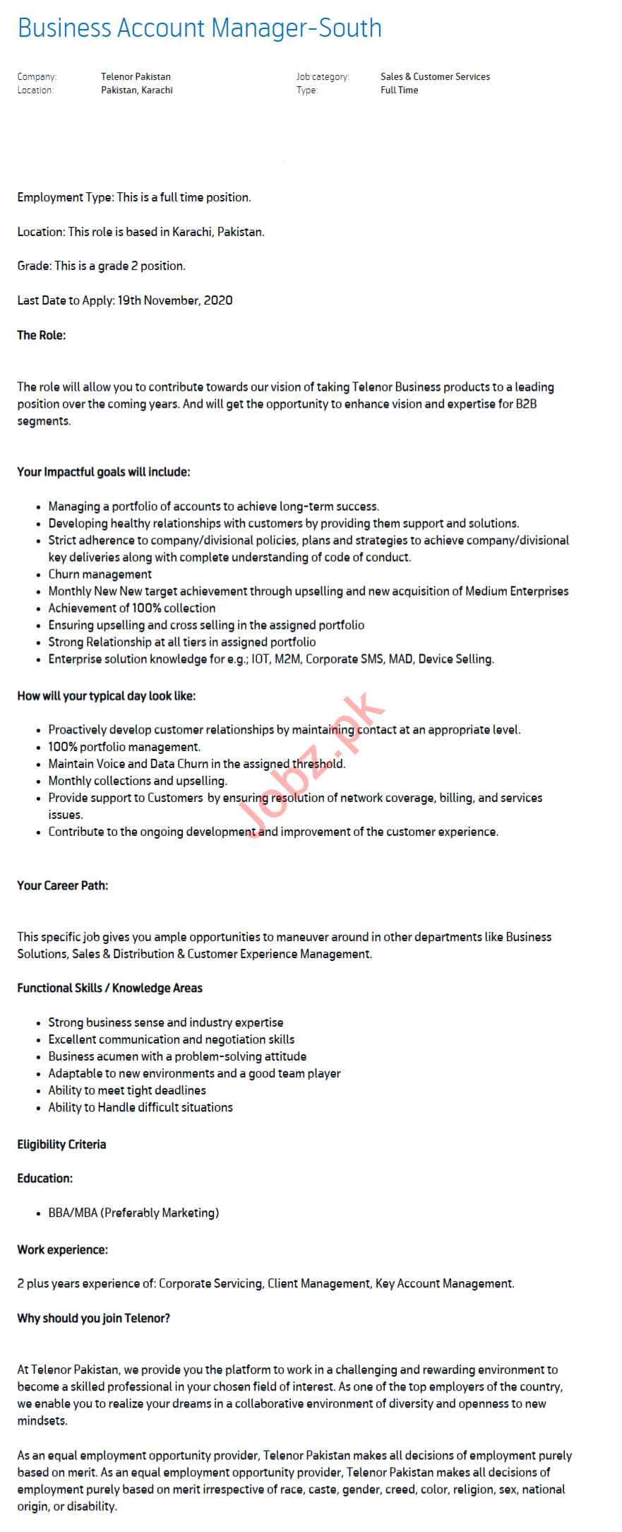 Business Account Manager Jobs 2020 in Karachi