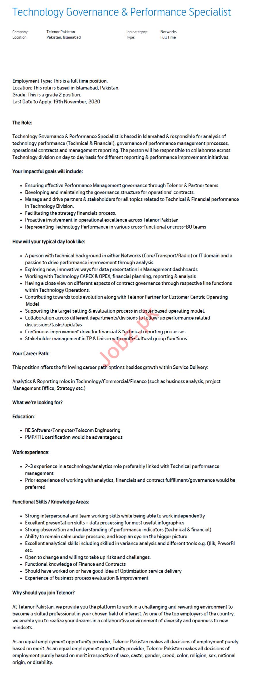 Technology Governance & Performance Specialist Jobs 2020