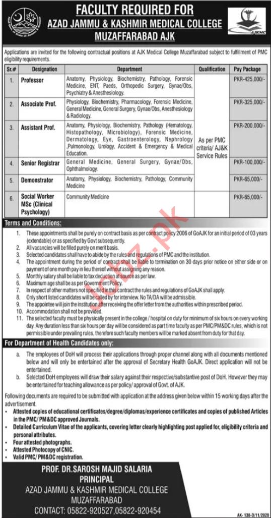 Azad Jammu Kashmir Medical College AJKMC Muzaffarabad Jobs