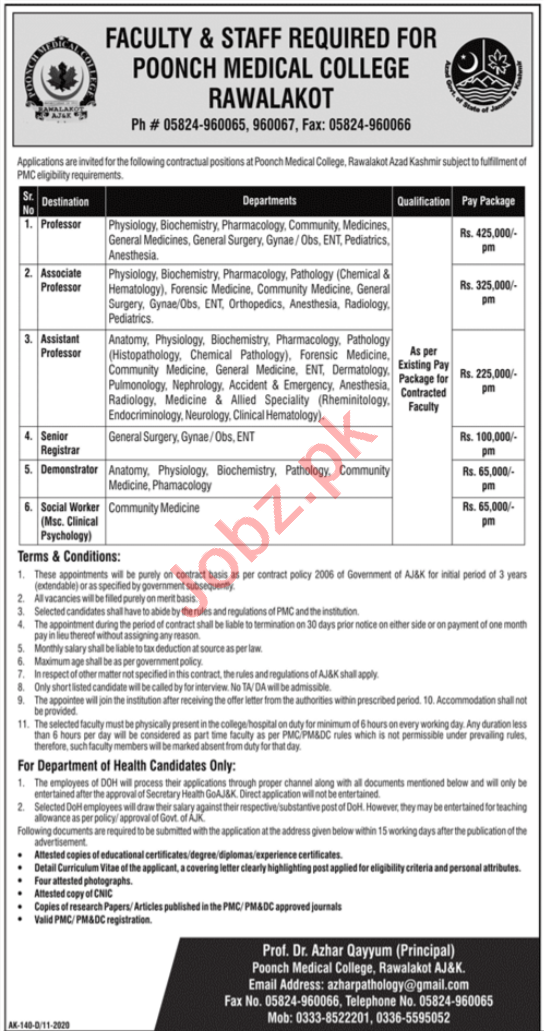 Poonch Medical College Rawalakot Jobs 2020 for Professors
