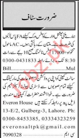 Insurance Agent & Receptionist Jobs 2020 in Multan