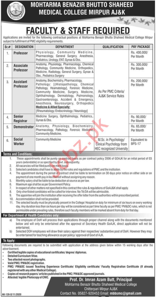 Mohtarma Benazir Bhutto Shaheed Medical College MBBSMC Jobs