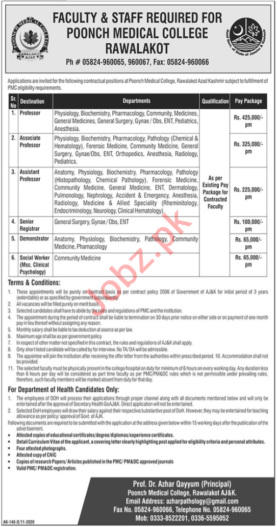 Poonch Medical College PMC Rawalakot Faculty Jobs 2020