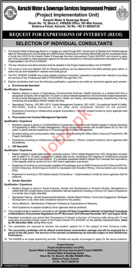 Karachi Water & Sewerage Board KW&SB Jobs 2020