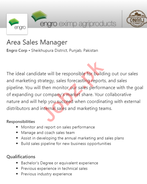 Area Sales Manager Jobs 2020 in Engro Corporation