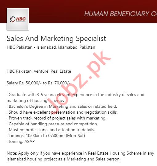HBC Pakistan Jobs 2020 for Sales & Marketing Specialist