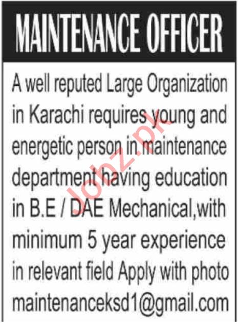 Maintenance Officer & Mechanical Engineer Jobs 2020