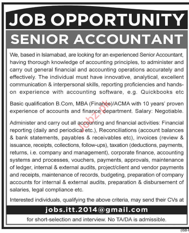 Senior Accountant & Accountant Jobs 2020 in Islamabad