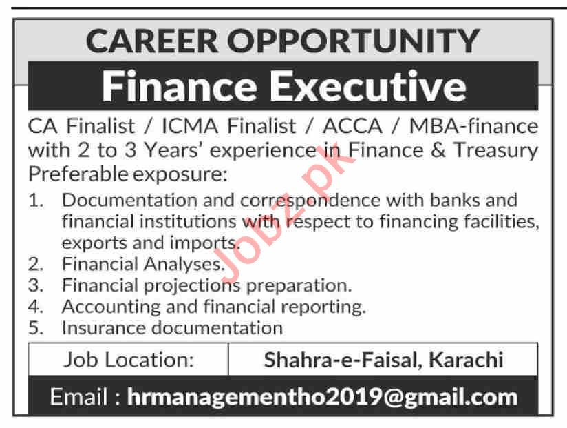 Finance Executive Jobs Open in Karachi 2020