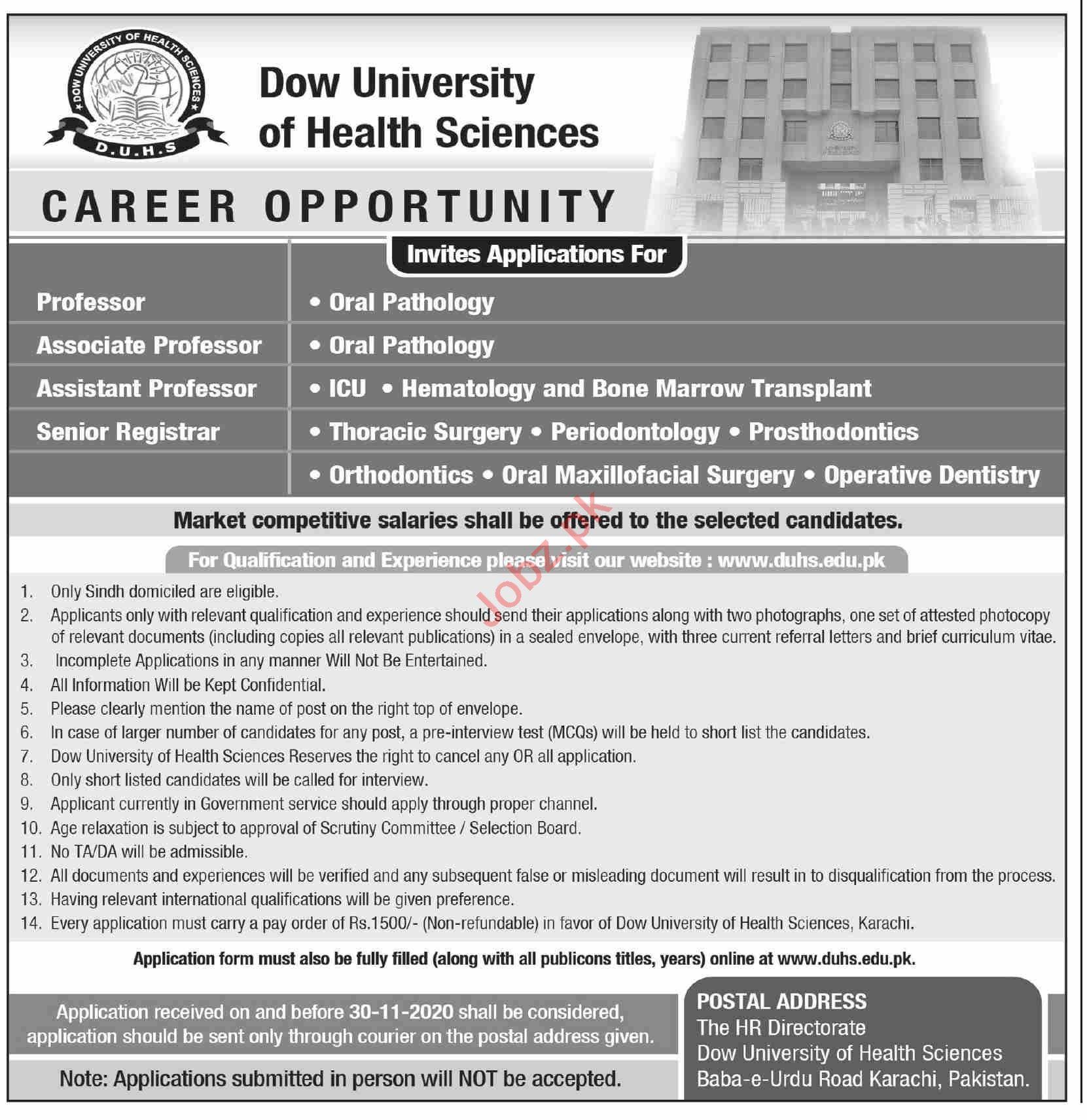 DOW University of Heath Sciences DUHS Karachi Jobs 2020