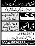 Cook and Driver Jobs 2020 in Islamabad