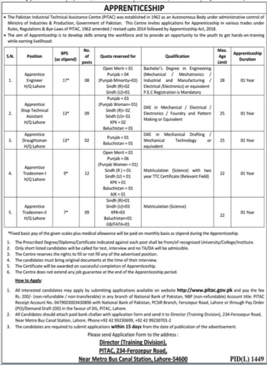 PITAC Apprenticeship Program 2020 in Lahore