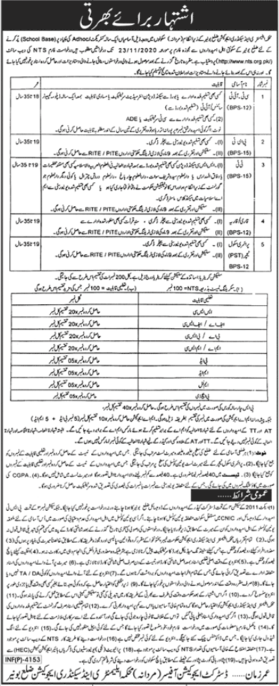 Education Department Buner ESED Jobs 2020 via NTS