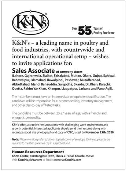 K&Ns Food Company Jobs 2020 in Karachi