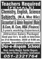 Dar e Arqam School Jobs 2020 in Islamabad