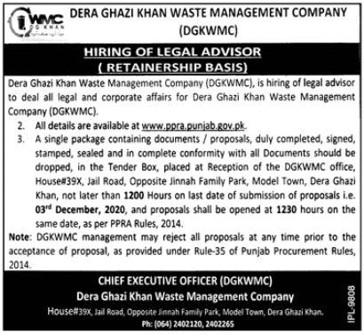 Dera Ghazi Khan Waste Management Company Jobs 2020