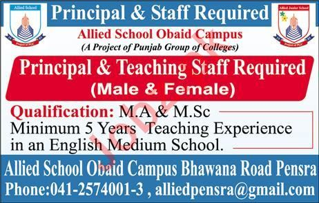 Teaching Staff Jobs in Allied School Obaid Campus