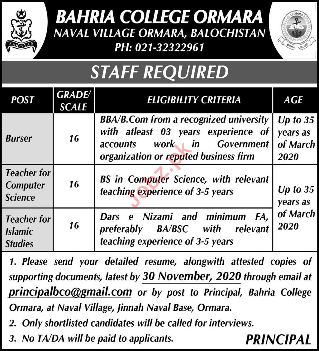 Bahria College Ormara Teaching Staff Jobs 2020