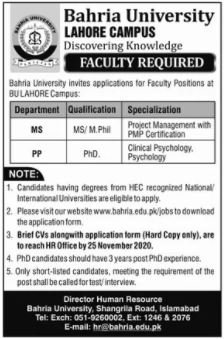 Bahria University Lahore Campus Jobs 2020